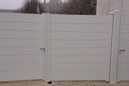 Portail alu battant Portillon aluminium Alu.line blanc RAL 9016