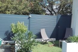 Clôture de jardin en alu Alulam et portillon aluminium Alulam, gris anthracite RAL 7016