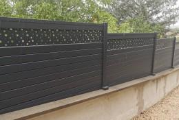 Clôture de jardin en alu Alulam lame décor Bulle gris anthracite RAL 7016