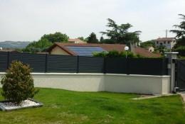 Cloture jardin en panneau aluminium.