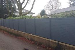 Brise vue jardin en panneau aluminium gris alulam.