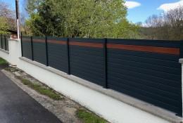 Clôture aluminium Alulam gris anthracite RAL 7016 lame imitation bois