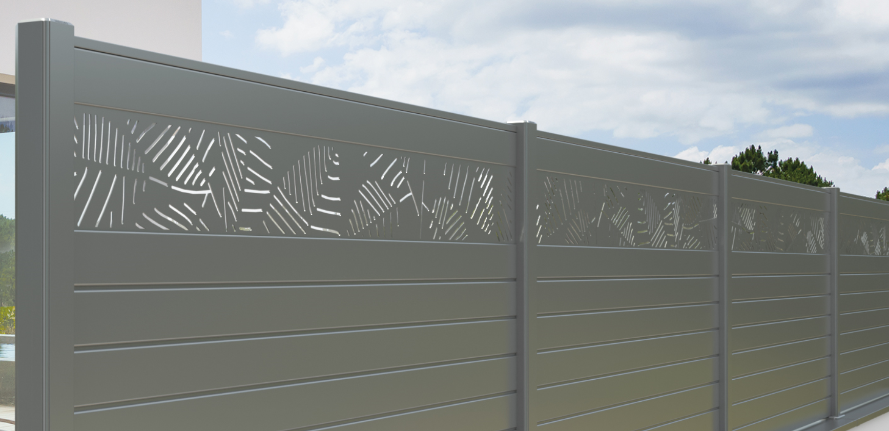 Brise vue aluminium décor fougere