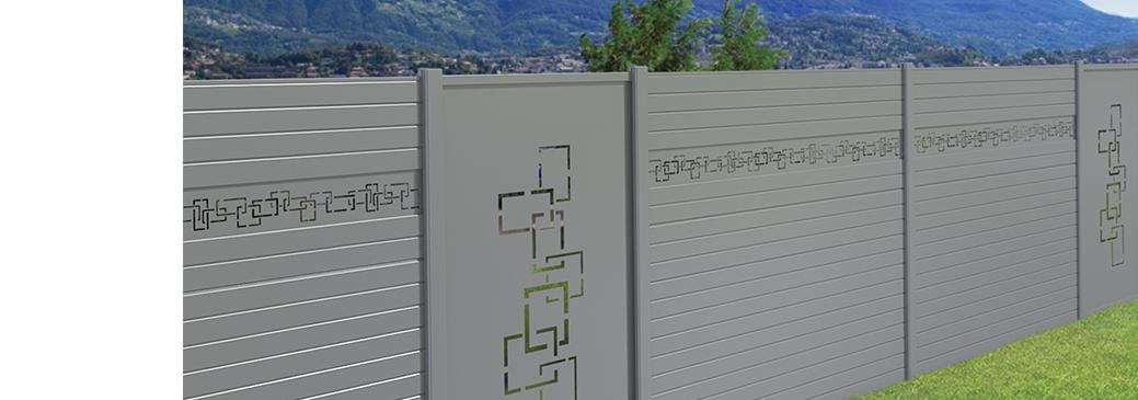 Clôture de jardin aluminium décor labyrinthe